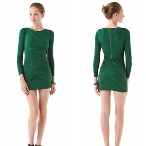 Alice+Olivia Green Long Sleeve Goddess Drape Dress